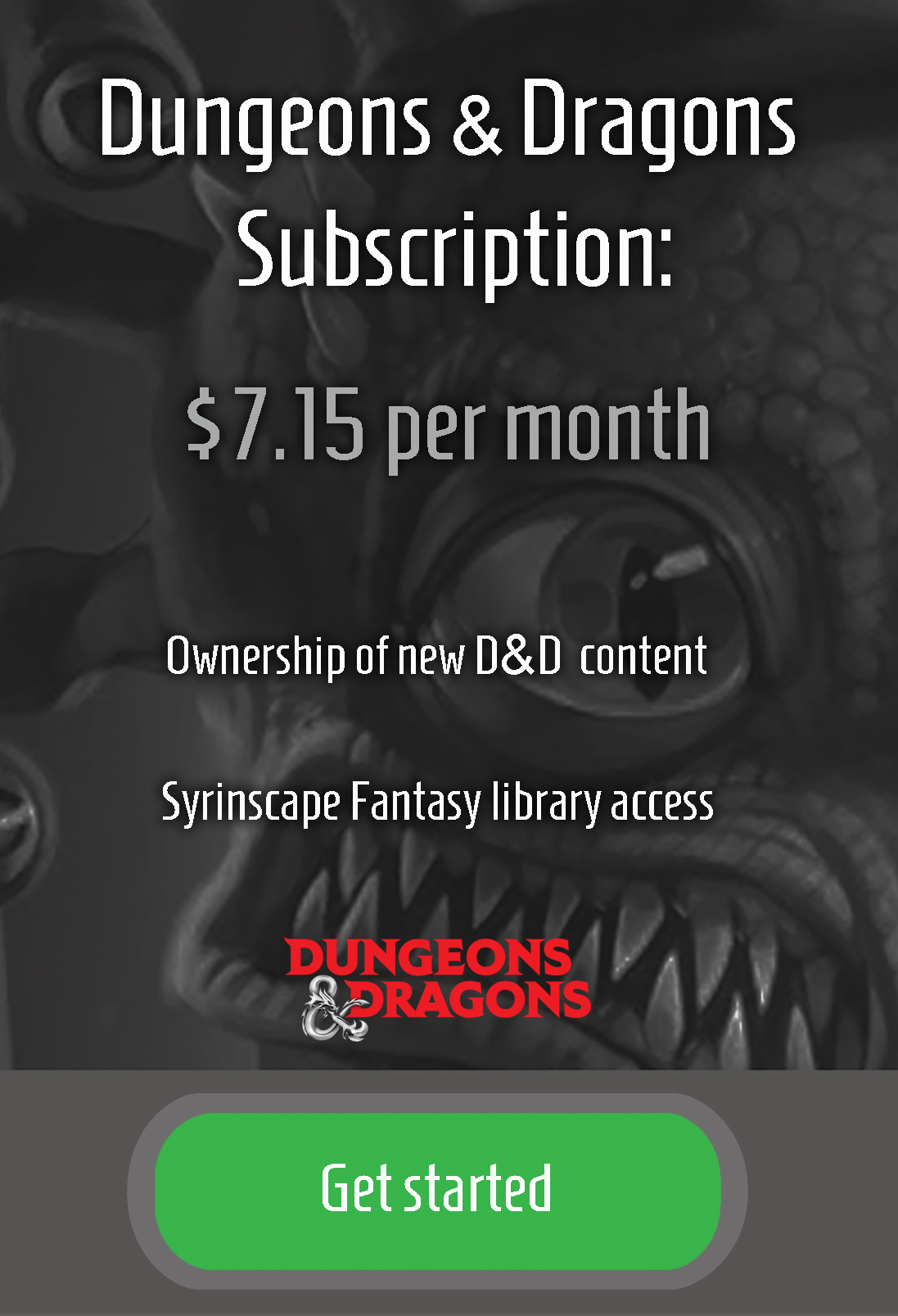 D&D Subscription signup
